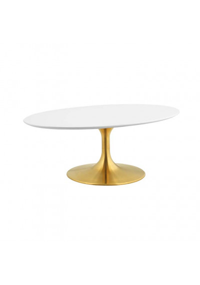 White Top Gold Base Mid Century Oval Coffee Table