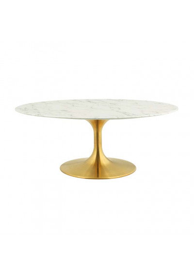 White Marble Top Gold Base Mid Century Oval Coffee Table