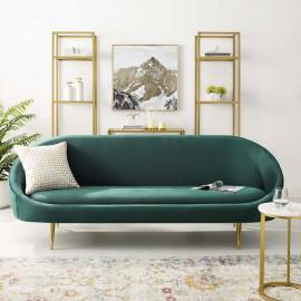 Green Velvet Spoon Shape Mid Century Style Sofa