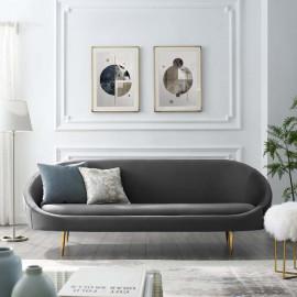 Grey Velvet Spoon Shape Mid Century Style Sofa