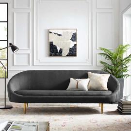 Grey Fabric Spoon Shape Mid Century Style Sofa