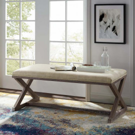 French Farmhouse Weathered Wood X Frame Beige Fabric Bench