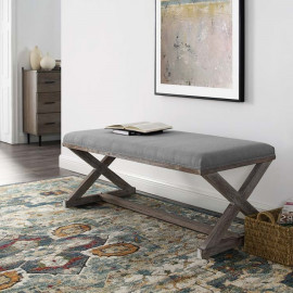 French Farmhouse Weathered Wood X Frame Light Grey Fabric Bench