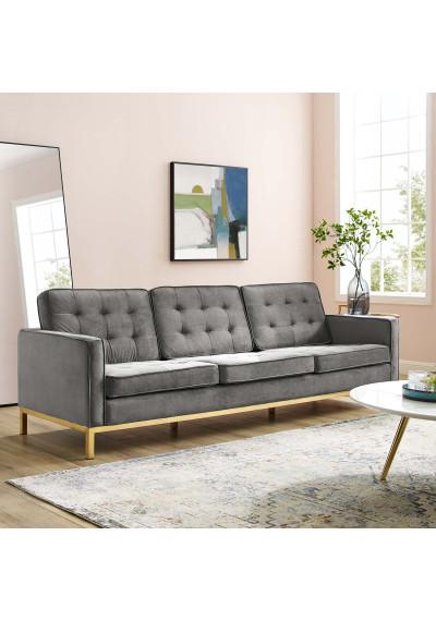 Tufted Grey Velvet & Gold Base Mid-Century Sofa