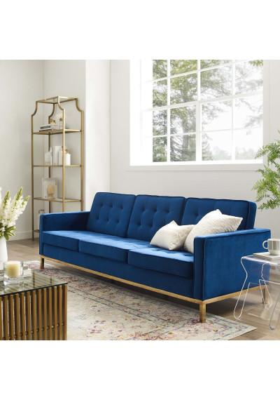 Tufted Blue Velvet & Gold Base Mid-Century Sofa