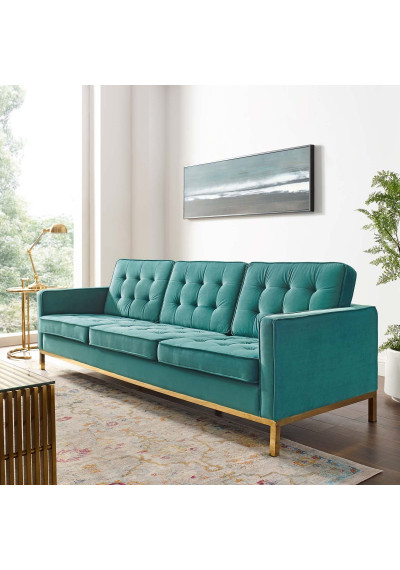 Tufted Teal Green Velvet & Gold Base Mid-Century Sofa
