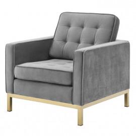 Grey Velvet Tufted Mid Century Modern Gold Leg Lounge Chair