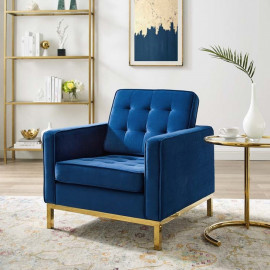 Blue Velvet Tufted Mid Century Modern Gold Leg Lounge Chair