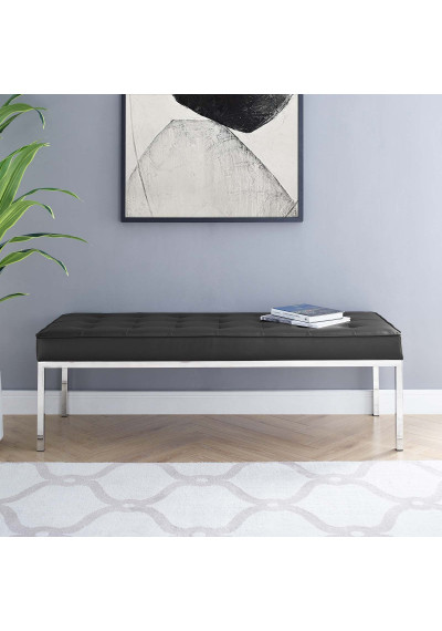 Black Faux Leather Tufted Stainless Steel Leg Bench