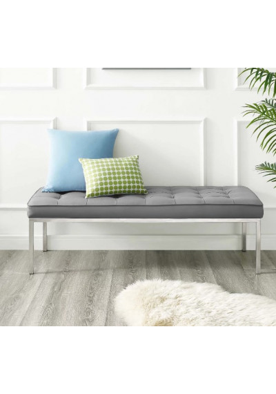 Grey Silver Faux Leather Tufted Stainless Steel Leg Bench