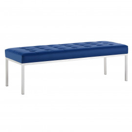 Blue Faux Leather Tufted Stainless Steel Leg Bench