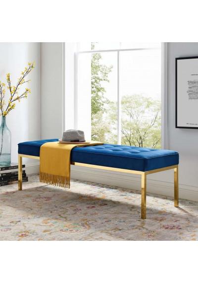 Blue Button Tufted Velvet & Gold Linear Base Bench