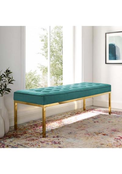 Teal Green Button Tufted Velvet & Gold Linear Base Bench