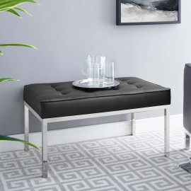 Black Mid Size Faux Leather Tufted Stainless Steel Leg Bench