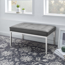 Grey Silver Mid Size Faux Leather Tufted Stainless Steel Leg Bench