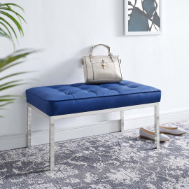 Blue Mid Size Faux Leather Tufted Stainless Steel Leg Bench