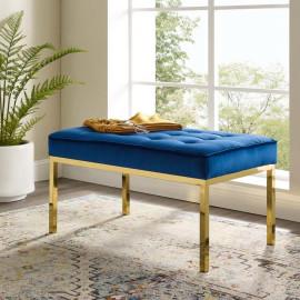 Blue Button Tufted Velvet & Gold Linear Base Medium Bench