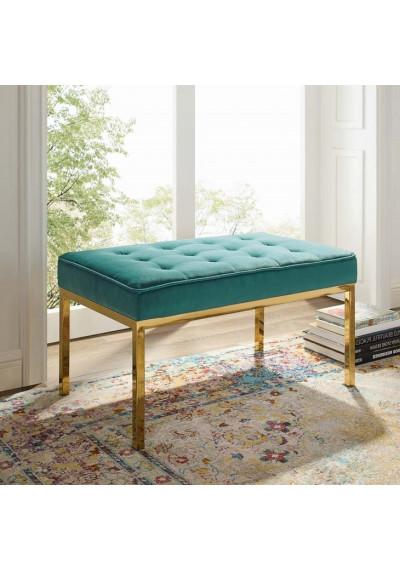 Teal Green Button Tufted Velvet & Gold Linear Base Medium Bench