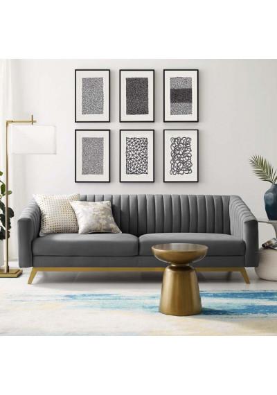 Grey Velvet Vertical Channel Tufted Sofa