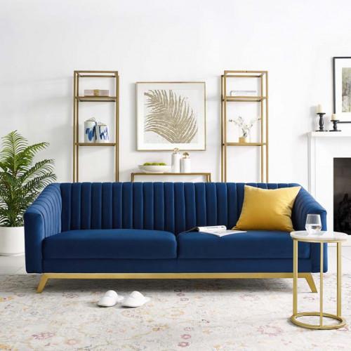 Blue Velvet Vertical Channel Tufted Sofa
