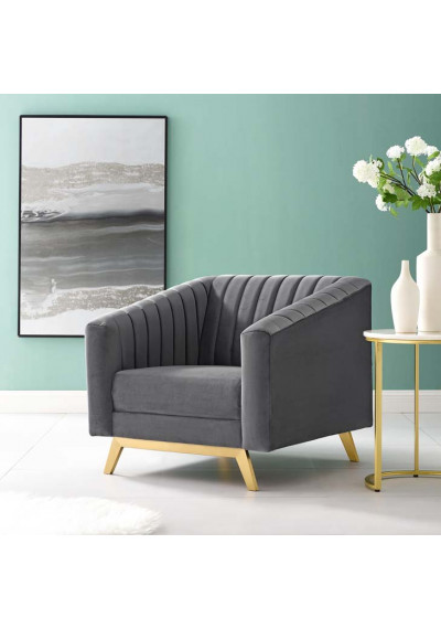 Grey Velvet Vertical Channel Tufted Chair