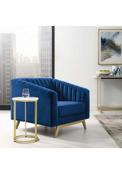 Blue Velvet Vertical Channel Tufted Chair