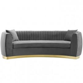 Grey Velvet Vertical Channel Tufted Curved Sofa