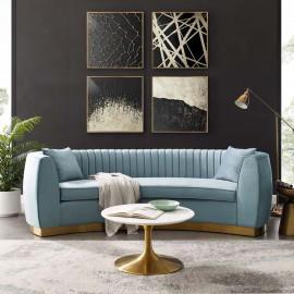 Light Blue Velvet Vertical Channel Tufted Curved Sofa