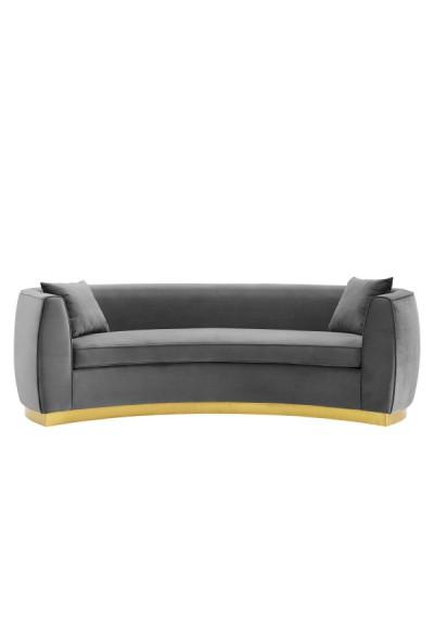 Grey Smooth Velvet Curved Sofa