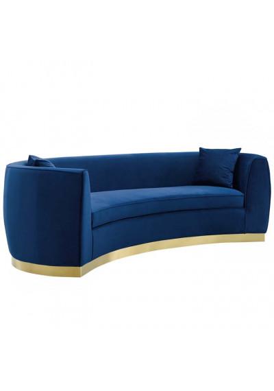 Blue Smooth Velvet Curved Sofa