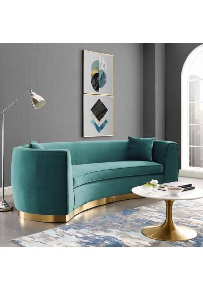 Teal Green Smooth Velvet Vertical Curved Sofa