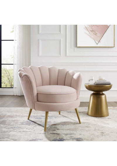 Soft Pink Velvet Round Back Petals Gold Legs ArmChair