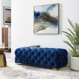 Blue All Over Velvet Tufted Bench Gold Feet