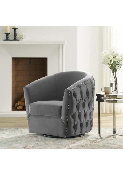 Grey Velvet Back Tufted Barrel Shaped Swivel Chair