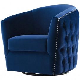 Blue Velvet Back Tufted Barrel Shaped Swivel Chair