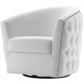White Velvet Back Tufted Barrel Shaped Swivel Chair