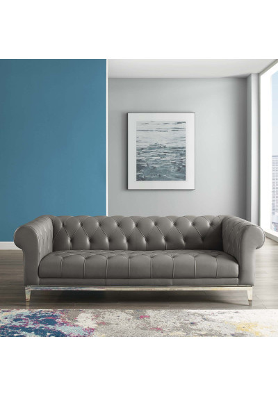 Button Tufted Leather Upholstered Grey Chesterfield Sofa