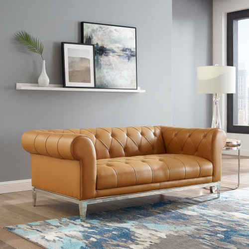 Button Tufted Leather Upholstered Tan Chesterfield Loveseat