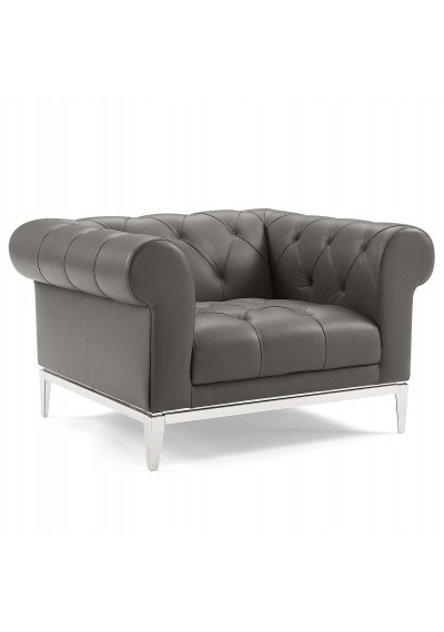 Button Tufted Leather Upholstered Grey Chesterfield Armchair