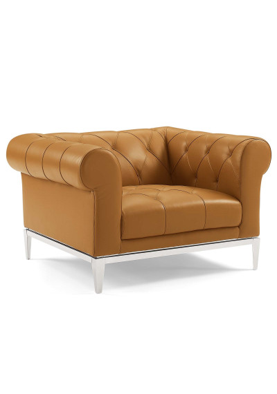 Button Tufted Leather Upholstered Tan Chesterfield Armchair