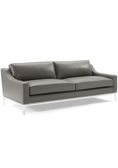 Sleek Modern Grey Leather & Stainless Steel Sofa