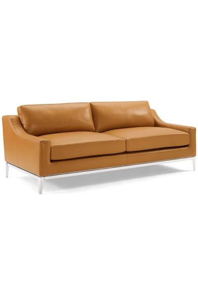 Sleek Modern Tan Leather & Stainless Steel Sofa