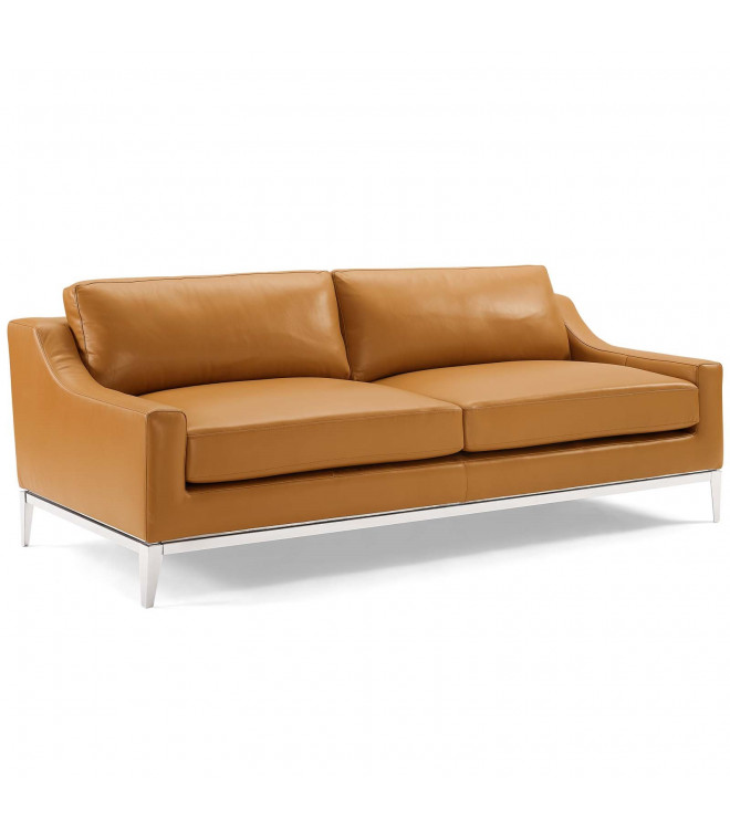 Sleek Modern Tan Leather Stainless, Modern Tan Leather Sofa
