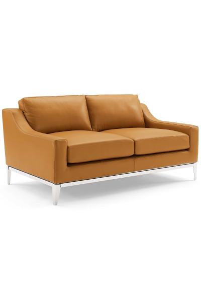 Sleek Modern Tan Leather & Stainless Steel Loveseat