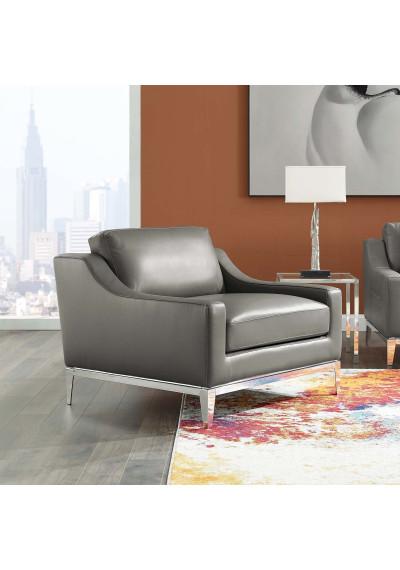 Sleek Modern Grey Leather & Stainless Steel Armchair