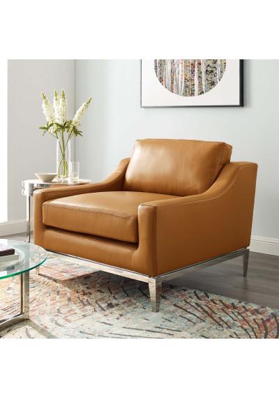 Sleek Modern Tan Leather & Stainless Steel Armchair