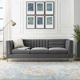 Grey Velvet Vertical & Horizontal Channel Tufted Sofa