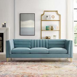 Light Blue Velvet Vertical & Horizontal Channel Tufted Sofa