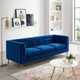 Navy Blue Velvet Vertical & Horizontal Channel Tufted Sofa
