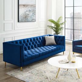 Deep Seated Diamond Tufted Blue Velvet Sofa
